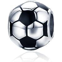 Breloque en forme de ballon de football compatible avec bracelets Pandora et colliers en argent sterling 925