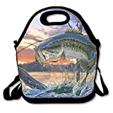 Kailey hello Bass Fish Jumping Multifunctional Lunch Tote Bag Carry Box
