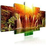 decomonkey | Bilder Wasserfall Sonnenaufgang 225x100 cm | 5 Teilig | Leinwandbilder | Bilder | Vlies Leinwand | Bilder | Wand | Bild auf Leinwand | Wandbild | Kunstdruck | Wanddeko | Natur Landschaft Wald Rot Orange | DKB0443a5XXL