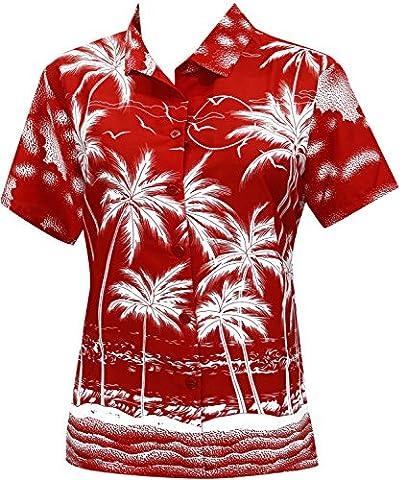 Blusen Hawaiihemd-Taste nach oben schwimmen Strand kurzen Ärmeln Badeanzug rot l