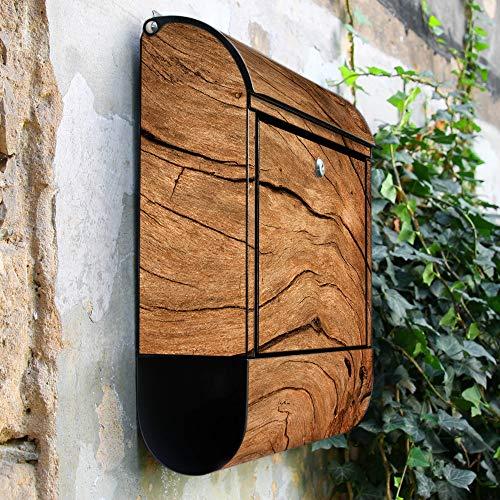 banjado – Schwarzer Design Briefkasten Zeitgsfach 38x42x11cm Wandbriefkasten mit Motiv Trockenes Holz, Briefkasten schwarz ohne Standfuß - 2