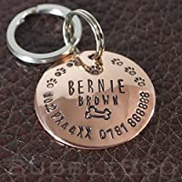 Pet Dog Name Tag. Personalised domed copper disc with bone and paw prints. ID tag. Dog Tag. Hand stamped. Puppy Tag