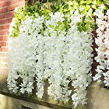 GT Gloptook 6 Pcs Artificial Polyester Hanging Flower Wisteria Vines Fake Flowers Vines for Home Party Wedding Garden Outdoor