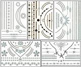ChicTats Metallische temporäre Tattoos Flash Gold & Silber - 5 Blatt - Bling Körper Kunst & Schmuck für Frauen und Mädchen - Wasserdicht und Mode - Party Make-up-Aufkleber
