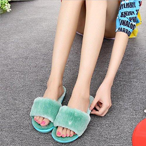 mhgao Mesdames Casual Automne Hiver Chaud en peluche ultra douce coton pantoufles en peluche pantoufles Green