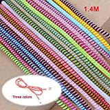 #8: Spiral triple colors (2Pcs) cable cord protectors winders (1.5 metre long) for mobile phone charging cable earphones - (Pack of 2)