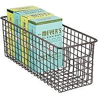 mDesign cesta metalica para su lavadero - Cesta organizadora en color bronce de metal inoxidable con asas - Organice todos sus productos de limpieza