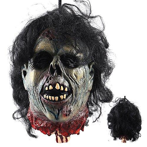 Littlegrasseu Halloween Decoración Colgante Cabeza Sangre Roto Cadáver Partes Prop Miedo Espeluznante Rebanada para Colgar con Pelo (18101)