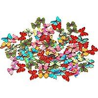 50 botones Dylandy de madera con botones de mariposa de colores mezclados con 2 agujeros para manualidades, costura, álbumes de recortes, decoración DIY, 28 mm