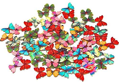 namgiy Holz-Knöpfe zum Nähen Basteln Handarbeiten Stoffspielzeug Strick-Socken, 2Löcher, Schmetterlinge mit 50Stück gemischte Farben
