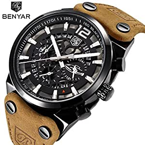 benyar sport herren uhren skelett milit r chronograph. Black Bedroom Furniture Sets. Home Design Ideas