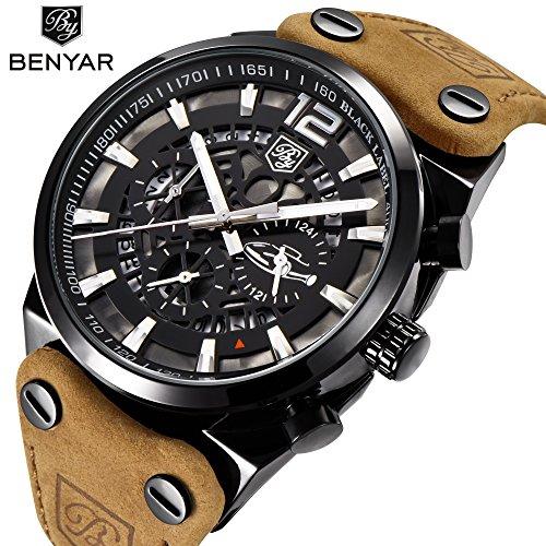 benyar Sport Herren Uhren Skelett Militär Chronograph Quarz Man Outdoor Big Zifferblatt Armbanduhr Armee Male Armbanduhr Braun Armbanduhr