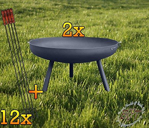 Due Grill fuoco Shell con piedi rotondi, XXL, circa 72cm + dodici grandi wuerstchen titolare 1meter lungo per barbecue grill Carbone Legno Fuoco piedi abschraubbar.