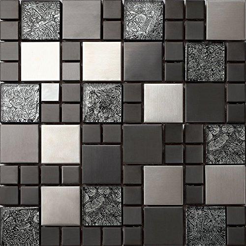 1qm Glas und Edelstahl Mosaik Fliesen Matte in Schwarz und Silber 30cm x 30cm x 8mm Matten (MT0002 m2)