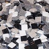 Mixed-Store Glas Mosaik 10 x 10 x 4 mm, 700 g, schwarz/weiß / grau mix, 803001