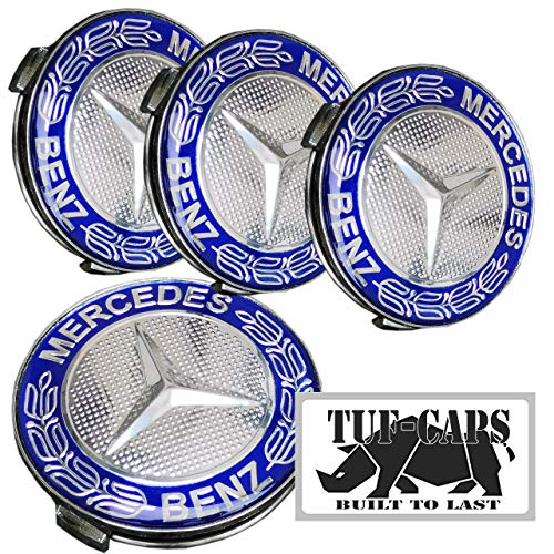 TUF-CAPS 75 mm Centre de Roue en Alliage hub Cap pour s'adapter à la Mercedes Benz - Bleu Laurier Résine époxy Top - Base chromée - Lot de 4