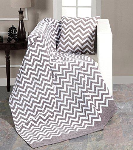 EHC Tagesdecke/Sesselüberwurf aus luxuriöser Chenille mit Winkelstreifen, Schwarz, 130x 170cm/Kleines Doppelbett, Smoke, 130 x 170 cm/Small Double