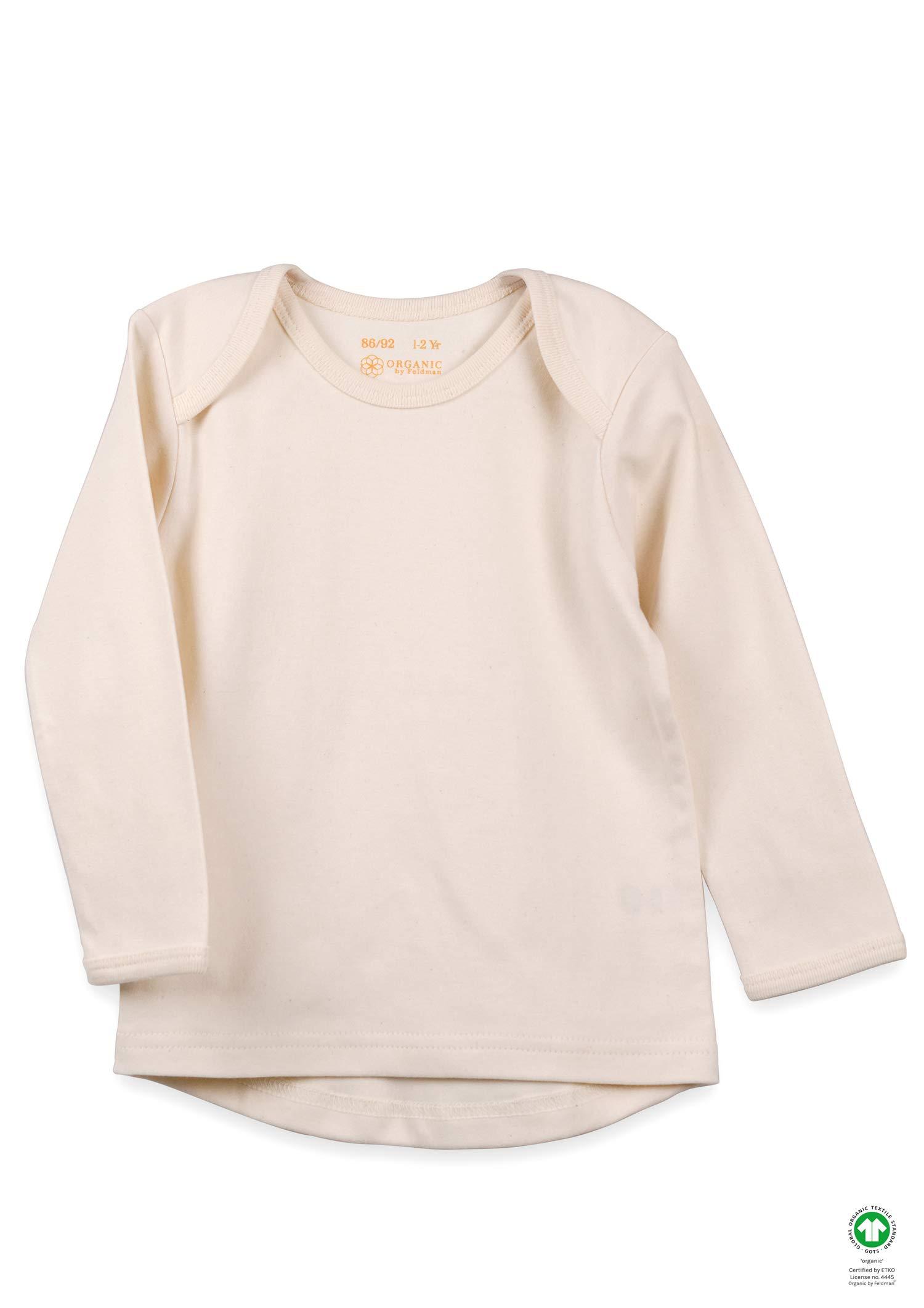 Camiseta de manga larga Organic by Feldman, 100% algodón orgánico, certificado GOTS, con cuello elástico, dobladillo… 1