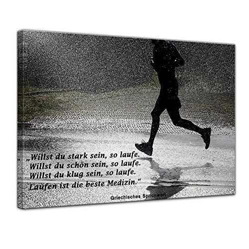 Leinwandbild mit Zitat - Laufen ist die Beste Medizin. - (Griechisches Sprichwort) 70x50 cm - Sprüche und Zitate - Kunstdruck mit Sprichwörtern - Vers - Bild auf Leinwand