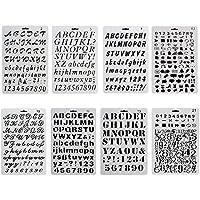 NouveLife Lot de 8 Pochoir Chiffre et Letter Pochoir Alphabet Peinture Réutilisable Souple Majuscule Minuscule Caractère de 1 à 3 cm pour Scrapbooking Carte d'Anniversaire Décoration Murale