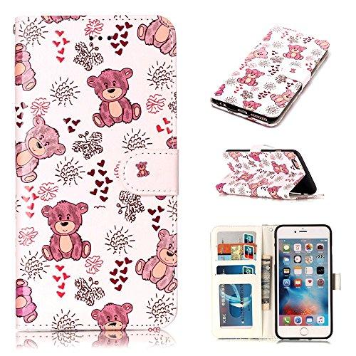 """MOONCASE iPhone 6/iPhone 6s Handyhülle, [Colorful Relief Pattern] Stoßfest Ganzkörper Schutzhülle mit Ständer Leder Tasche Case für iPhone 6/iPhone 6s 4.7"""" Wolf Bear"""