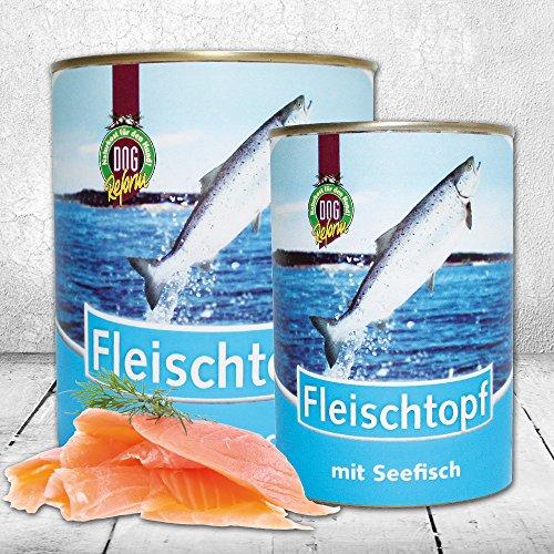 DOGREFORM Fleischtopf mit Seefisch 6 x 820g getreidefrei glutenfrei Nassfutter mit Lachsöl schon nach wenigen Wochen ein glänzendes Fell und gesunde Haut völlig frei von Soja-/Kunstfleischprodukten