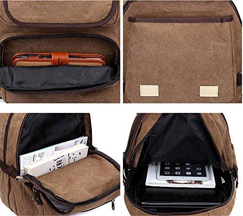 Zaino tela Computer Bag Middle School studente borsa a tracolla uomo il travel Bag Brown