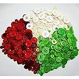 650pcs Knopf Harz Bastelknöpfe DIY Knöpfe für Weihnachten Nähen Handwerk Scrapbooking Deko Handgefertigte Verzierung mit 2 oder 4 Löcher in Rot Weiß Grün