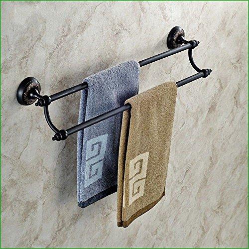 Yomiokla accessori per il bagno - cucina, servizi igienici, balcone e anello porta asciugamani in metallo antiquariato in ottone nero base floreale montato a parete doppia barra