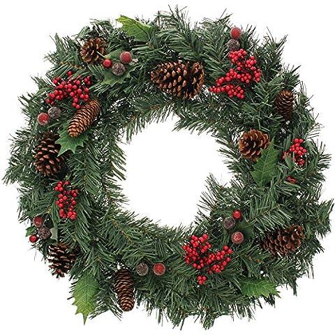 WeRChristmas - Corona de Navidad con iluminación (60 cm, piñas naturales y bayas, 20 bombillas LED, luz blanca