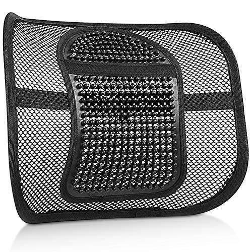 Cuscino Lombare Supporto Lombare con Fascette Regolabili Mesh Supporto per La Schiena e Cuscino Lombare per Auto – Nero