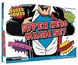 Marvin's Magic 54076 - Zauberkasten Marvin`s Super Hero magische Tricks, Komplettset mit leuchtenden Finger, 2 Zauberlöffel und Zauberkarten, Set für Magier ab 6 Jahre, mit Link zu Beschreibungen