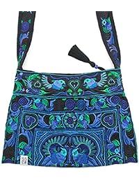 """ETHNIC STYLES Ethno Midi Bag """"Eisblau"""", bunt bestickt, fairtrade aus Thailand / Baumwolle. Quaste, Glitzerperle, Innenfach, breite und lange Gurte"""