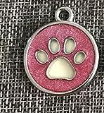 SDCXV Paw Muster Pulver Hundemarke Hund Halskette Anhänger Zubehör (Rose Red) Für jeden Tag