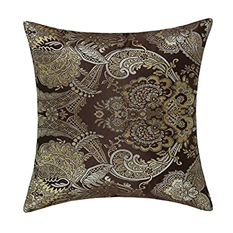 CaliTime Cushion Covers Pillows Shell Soft Gold Floral Embroidered Sheer