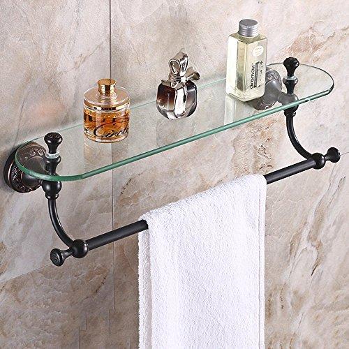 FACAIG Badezimmer Regal, Wandhalterung Alle Bronze Schwarz Bronze Kosmetik Bad Regal Vintage Storage Glas Gantry Regal Glas Bad Regal einfach stehen zu reinigen (Farbe: D) (Glas-elemente Stehen)