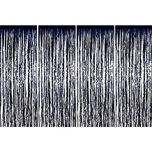 4 Pack Fólia függönyök Fémes Fringe függönyök Shimmer függöny születésnapi esküvői karácsonyi díszek (fekete)
