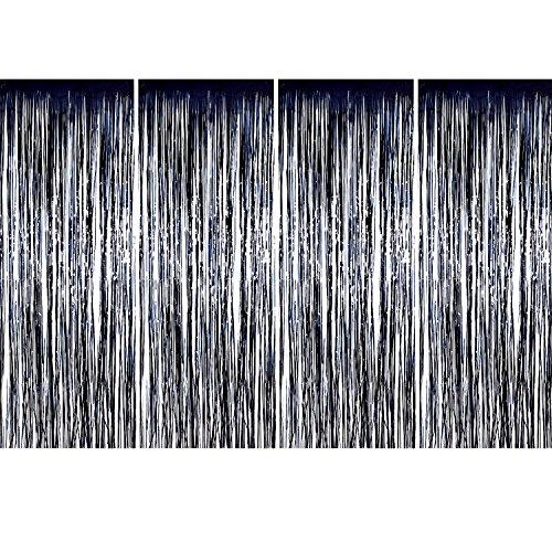 4 Packung Folie Vorhänge Metallic Fringe Vorhänge Schimmer Vorhang für Geburtstag Hochzeit Weihnachtsschmuck (Schwarz)