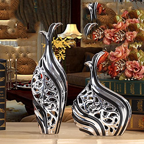 European Vase Ornaments Home Accessories Ceramic Living Room Decorations ( Color : Black Silver )