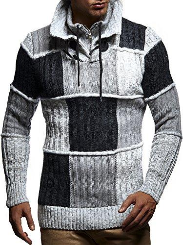 LEIF NELSON Herren Strickpullover Pullover Sweatshirt LN5500; Größe M, Ecru-Grau