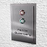 Metzler-Trade Edelstahl Türklingel. LED-Klingeltaster und Lichtschalter. Optional mit Namens-Gravur. (mit Gravur)