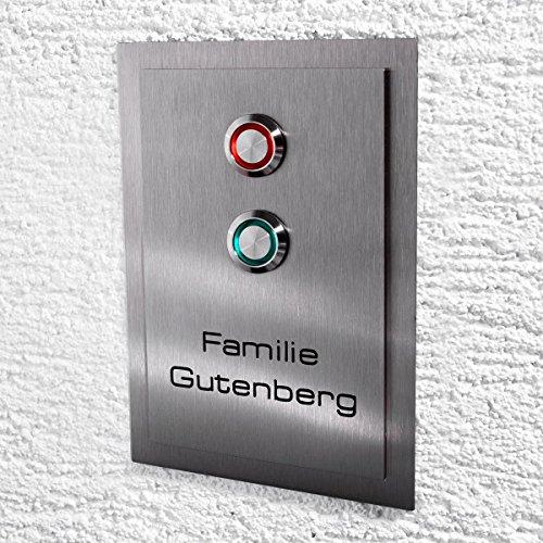 Metzler-Trade® Edelstahl Türklingel. LED-Klingeltaster und Lichtschalter. Optional mit Namens-Gravur. (mit Gravur)