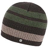 Lierys Fine Merino Stripes Beanie Strickmütze Wintermütze Herrenmütze Mütze für Herren mit Futter Winter (One Size - Dunkelbraun)