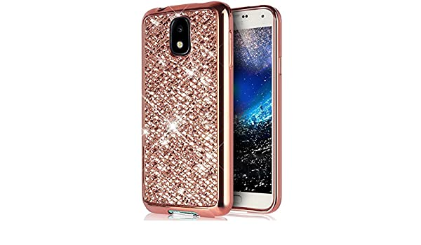 ikasus Coque Galaxy J7 Etui Brillant scintillement bling Briller Glitter paillettes Placage Gel Silicone TPU avec Cadre Brilliant Chromé Etui Coque Housse pour Galaxy J7 Etui,Rose Coffres de rangement