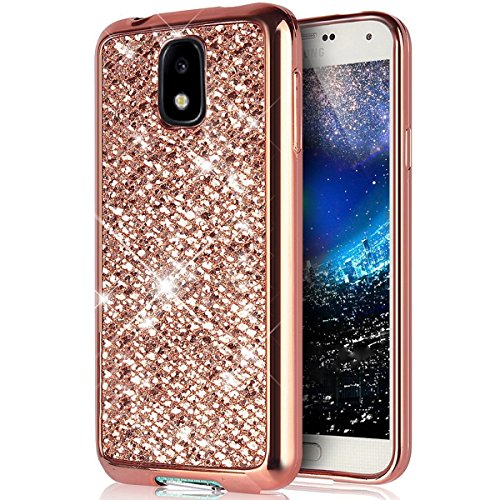 Coque pour Galaxy J3 2017 [Europe Version],Galaxy J3 2017 Coque TPU,ETSUE Luxe Bling Glitter Coque en Silicone Etui pour Samsung Galaxy J3 2017 Housse ,Galaxy J3 2017 Cristal Glitter galvanisation Dor Rose Gold