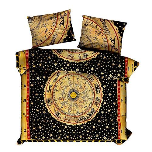 Marusthali Indian Psychedelic Horoskop Mandala Tröster Cover Single Bettwäsche Throw indischen Bettbezug & Kissen Fall böhmischen Throw Bett in einer Tasche Set mit Bettlaken -