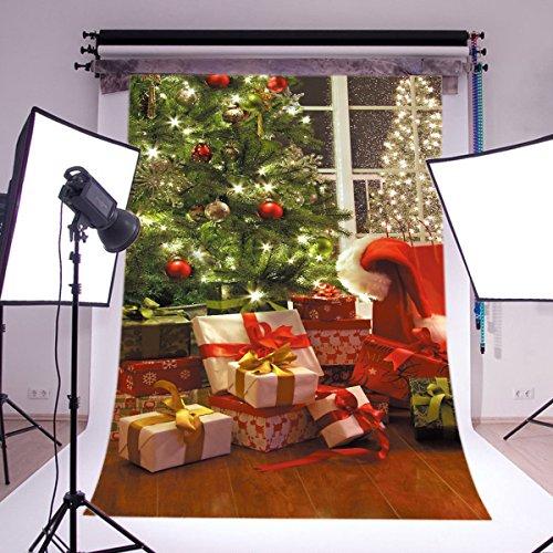 LOVE-BABY Vinile Natale Senza interruzioni Fondali 5x7ft / 150x210cm Tress
