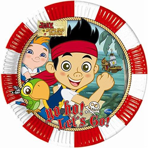 procos-82607-piatti-carta-captain-jake-oe23-cm-8-pezzi-multicolore