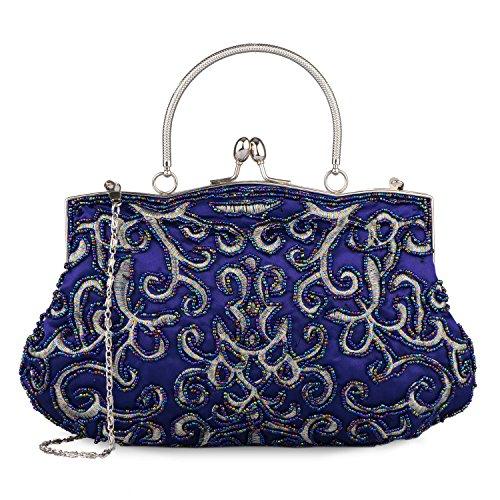 Baglamor 4 Farbe Lady Vintage Handtasche Perlen Geldbörse Temperament Stil Stickerei Tasche Party Kupplung (Blau) (Vintage Tasche Abend Perlen)