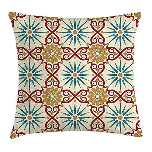DDOBY Fodera per Cuscino del Marocchino, Figure di Arte Geometrica Sacra Orientale con Immagine di Elementi Decorativi damascati Classici, Fodera per Cuscino Accento Quadrato Decorativo, Beige Senape